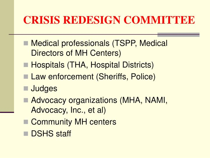 CRISIS REDESIGN COMMITTEE