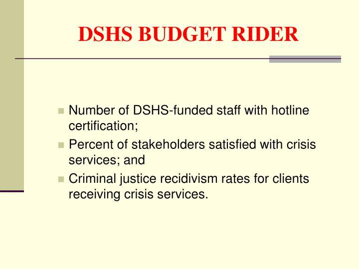 DSHS BUDGET RIDER