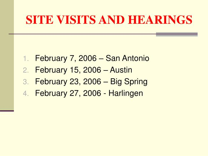 SITE VISITS AND HEARINGS