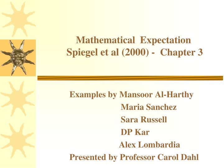 mathematical expectation spiegel et al 2000 chapter 3 n.