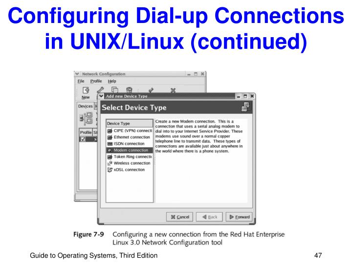 Configuring Dial-up Connections in UNIX/Linux (continued)