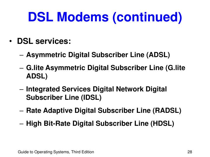DSL Modems (continued)