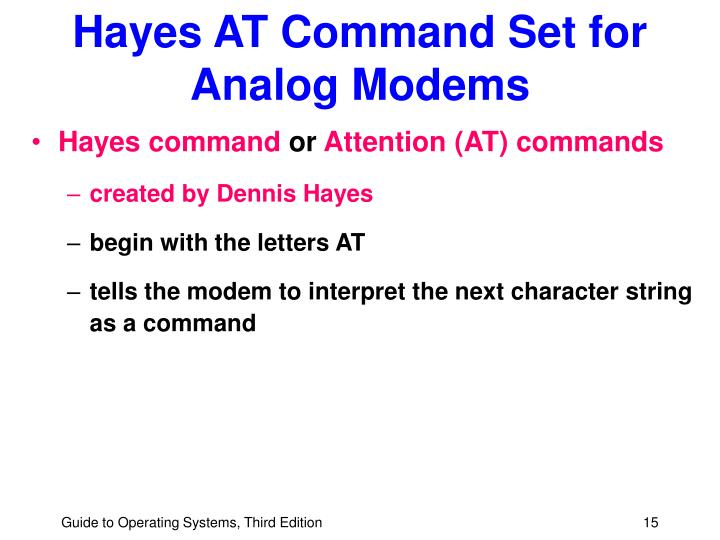 Hayes AT Command Set for Analog Modems