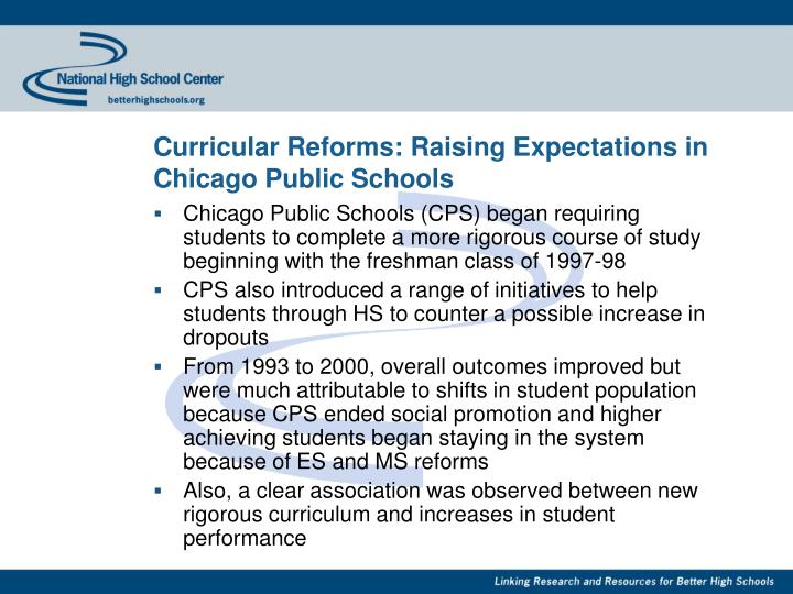 Curricular Reforms: Raising Expectations in Chicago Public Schools