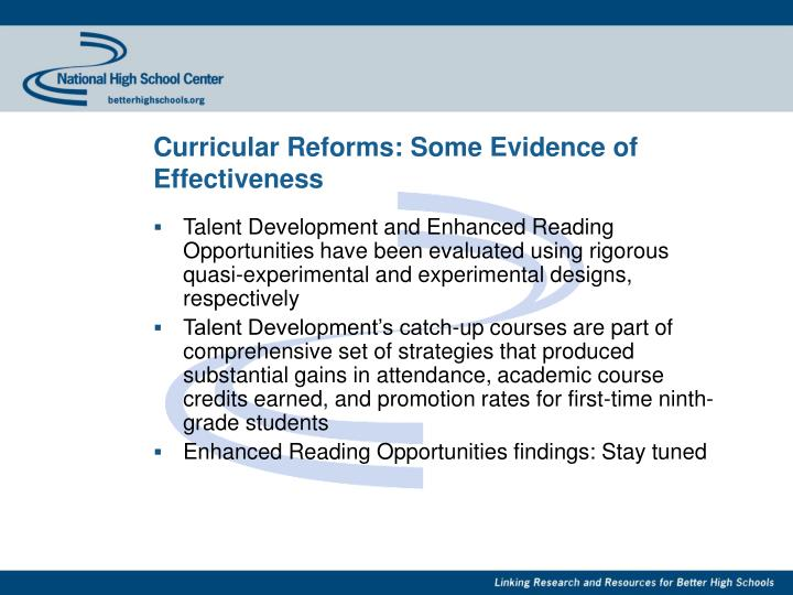 Curricular Reforms: Some Evidence of Effectiveness