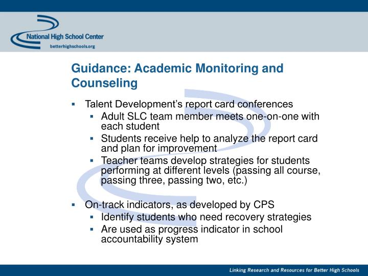 Guidance: Academic Monitoring and Counseling