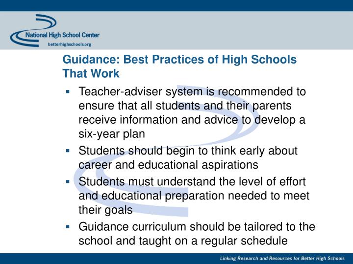 Guidance: Best Practices of High Schools That Work