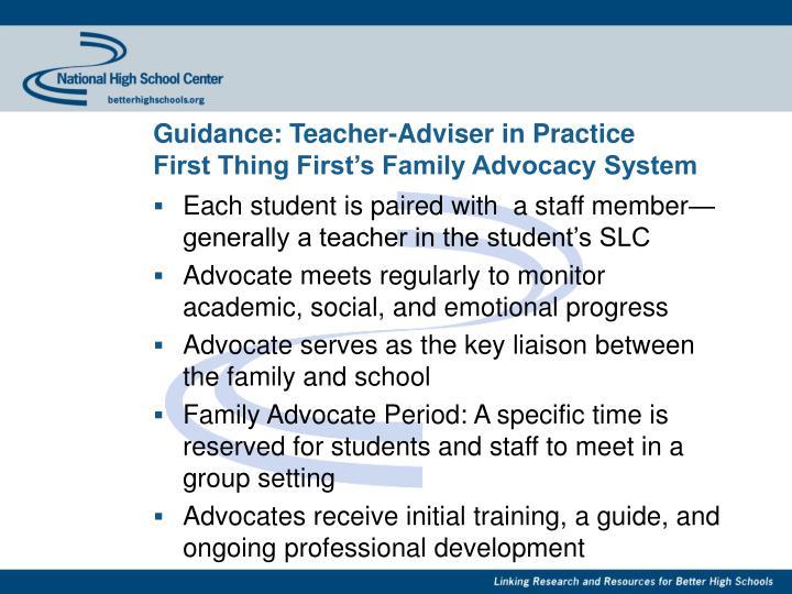 Guidance: Teacher-Adviser in Practice