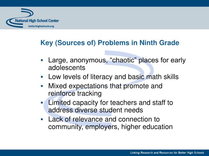 Key (Sources of) Problems in Ninth Grade