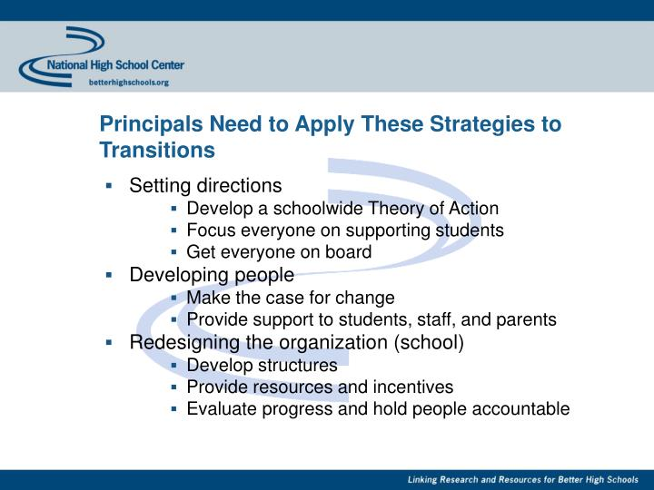 Principals Need to Apply These Strategies to Transitions