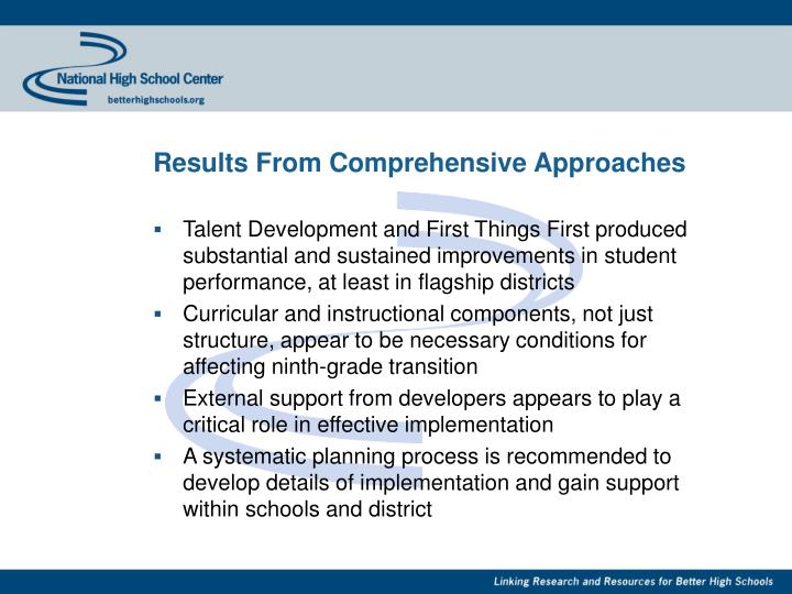 Results From Comprehensive Approaches