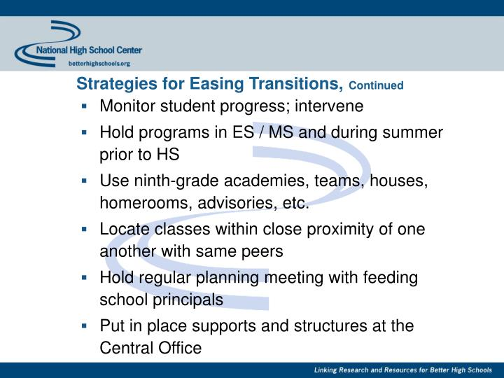 Strategies for Easing Transitions,