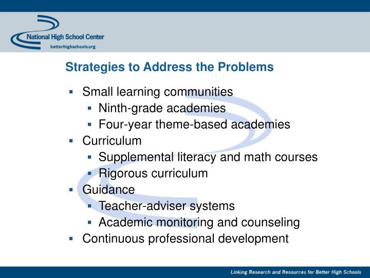 Strategies to Address the Problems