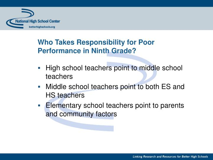 Who Takes Responsibility for Poor Performance in Ninth Grade?