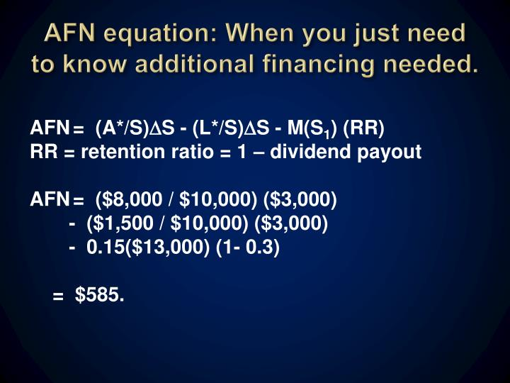AFN equation: When you just need to know additional financing needed.