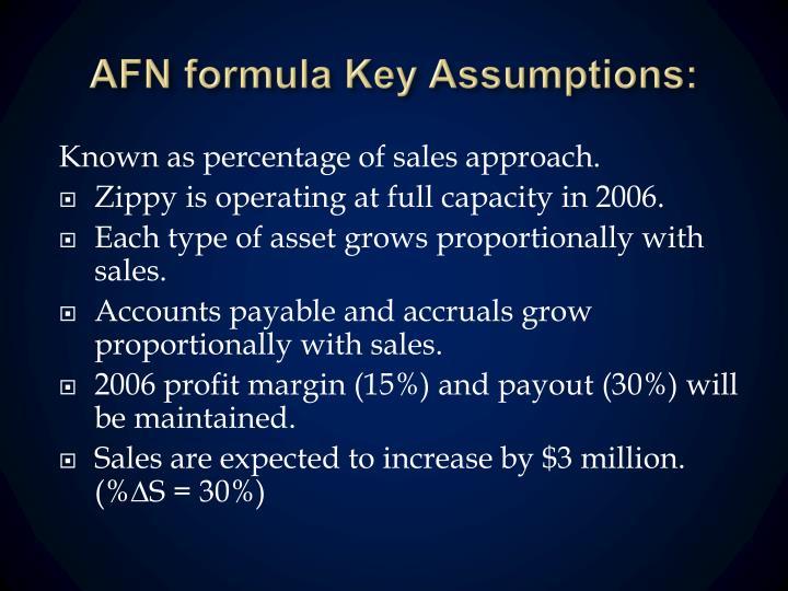 AFN formula Key Assumptions: