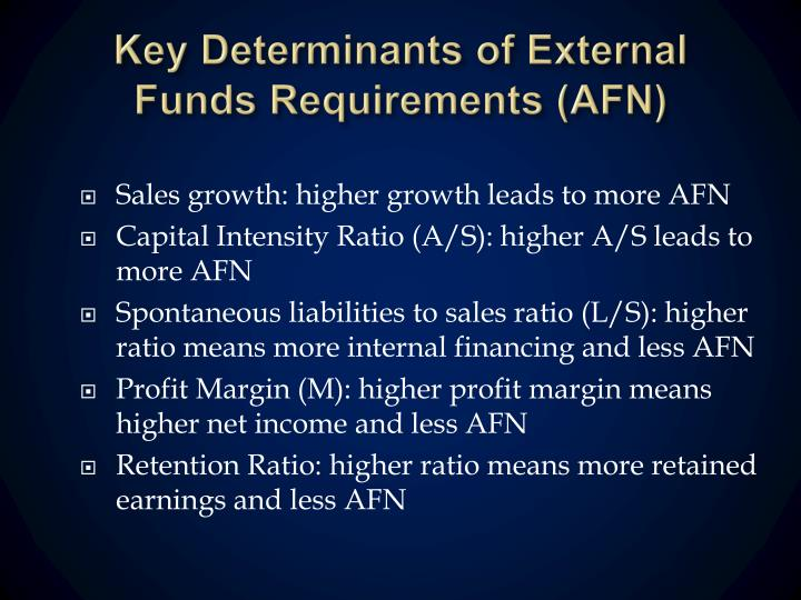 Key Determinants of External Funds Requirements (AFN)