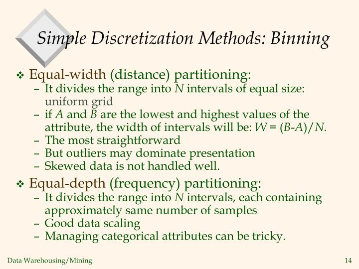 Simple Discretization Methods: Binning