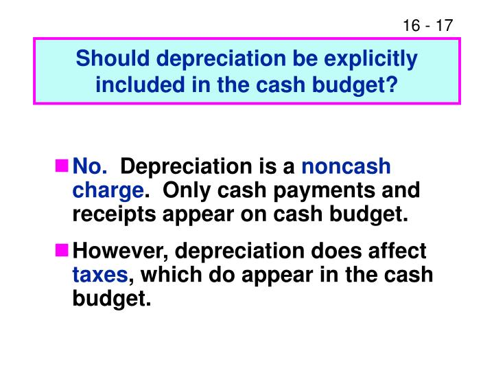 Should depreciation be explicitly included in the cash budget?