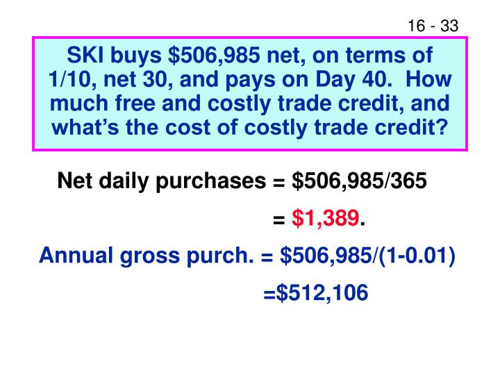 SKI buys $506,985 net, on terms of 1/10, net 30, and pays on Day 40.  How much free and costly trade credit, and what's the cost of costly trade credit?