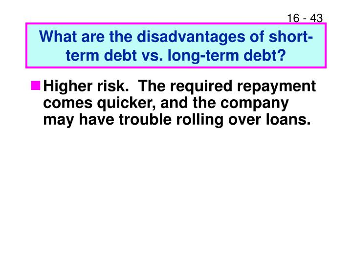 What are the disadvantages of short-term debt vs. long-term debt?