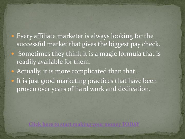 Every affiliate marketer is always looking for the successful market that gives the biggest pay chec...