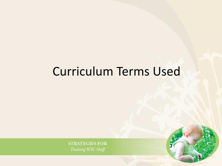 Curriculum Terms Used