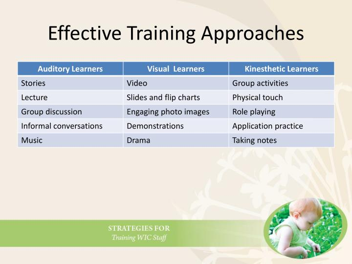 Effective Training Approaches