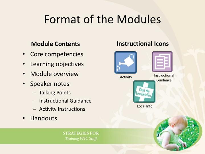 Format of the Modules