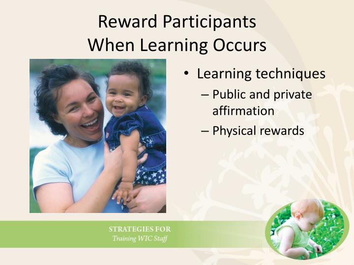 Reward Participants