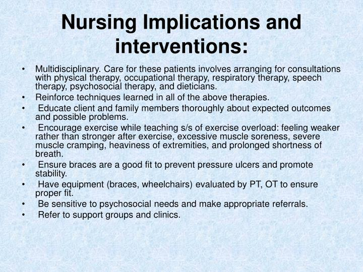 Nursing Implications and interventions: