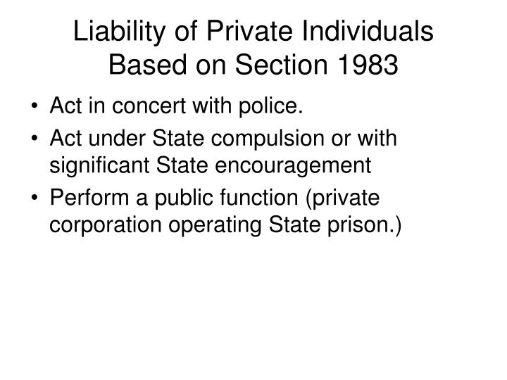 Liability of Private Individuals Based on Section 1983
