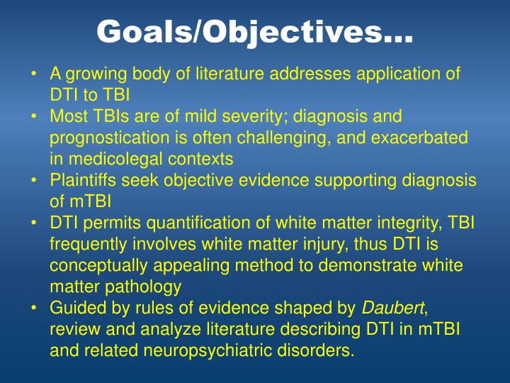 Goals/Objectives…