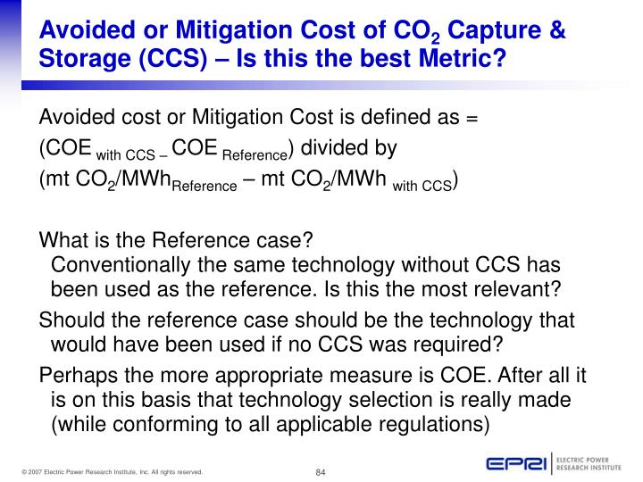 Avoided or Mitigation Cost of CO