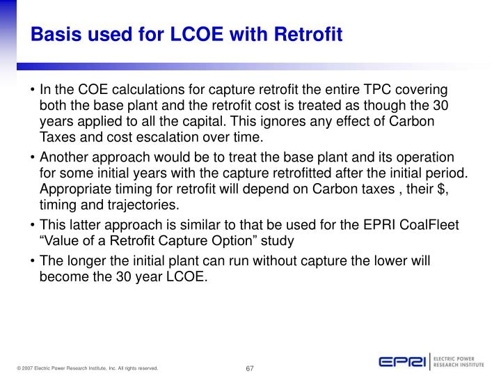 Basis used for LCOE with Retrofit