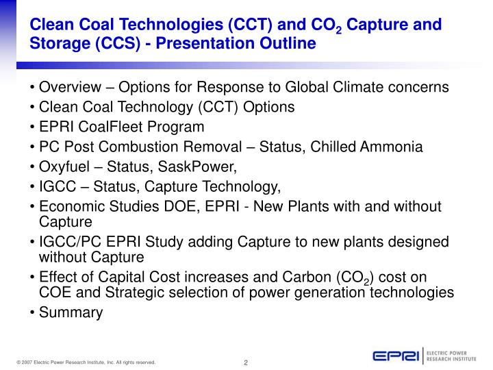 Clean coal technologies cct and co 2 capture and storage ccs presentation outline