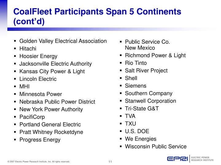 CoalFleet Participants Span 5 Continents (cont'd)