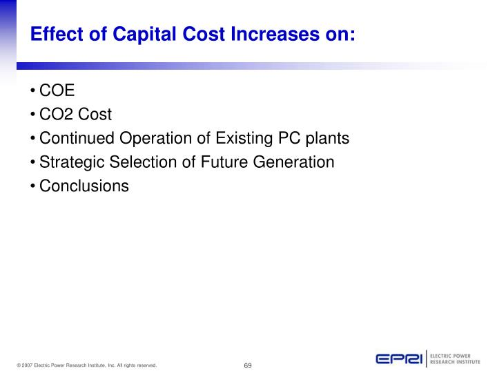 Effect of Capital Cost Increases on: