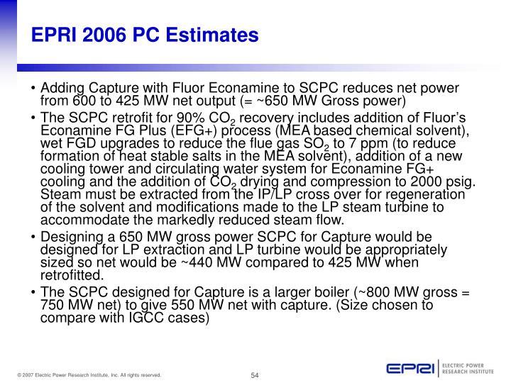 EPRI 2006 PC Estimates