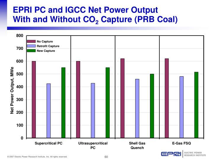EPRI PC and IGCC Net Power Output