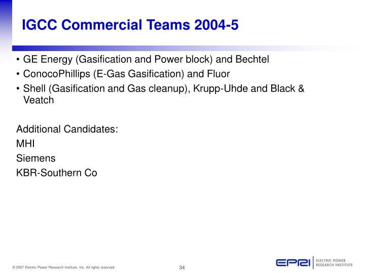 IGCC Commercial Teams 2004-5