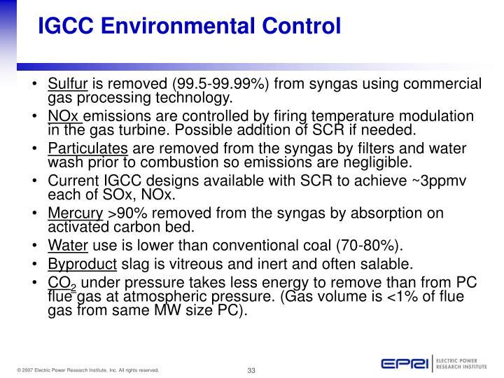 IGCC Environmental Control