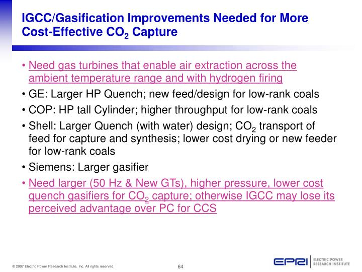 IGCC/Gasification Improvements Needed for More Cost-Effective CO