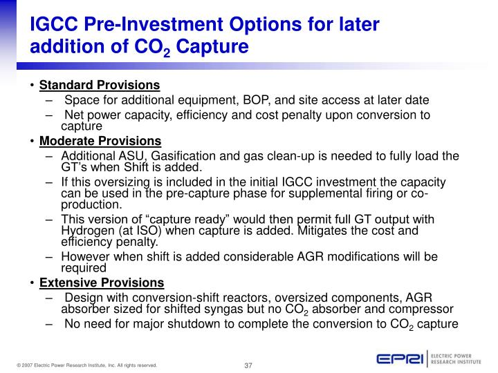 IGCC Pre-Investment Options for later addition of CO