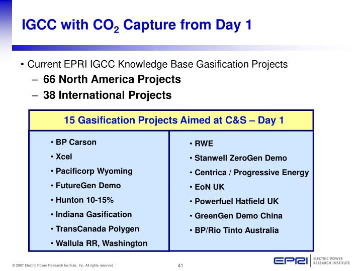 15 Gasification Projects Aimed at C&S – Day 1