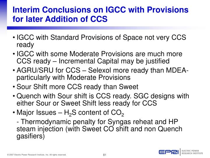 Interim Conclusions on IGCC with Provisions for later Addition of CCS