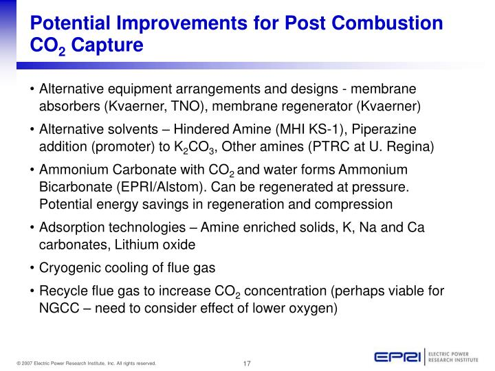 Potential Improvements for Post Combustion CO