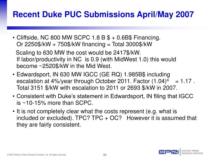 Recent Duke PUC Submissions April/May 2007