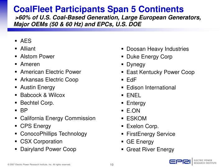 CoalFleet Participants Span 5 Continents
