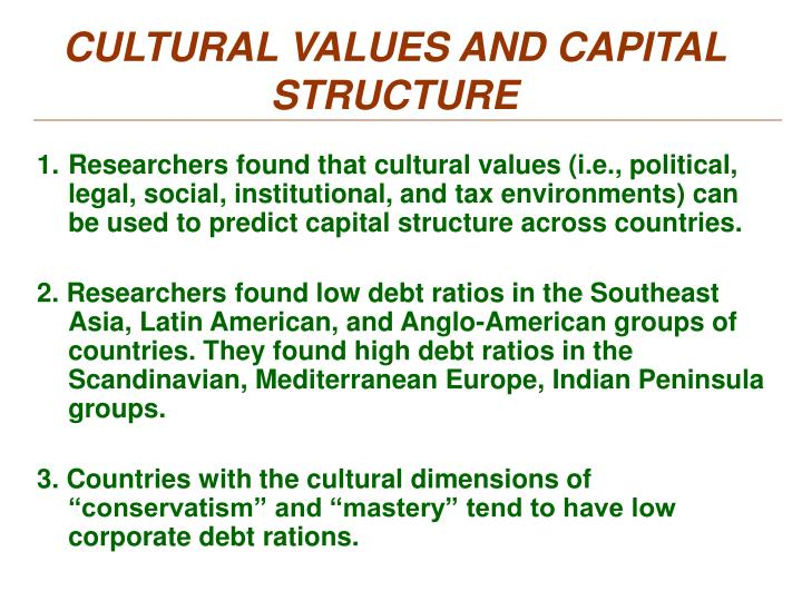 CULTURAL VALUES AND CAPITAL STRUCTURE